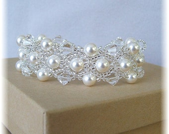 Choice of White or Cream Pearls and Crystal Wedding Bracelet, Beaded Bracelet, Bridal Jewelry, White or Cream Pearls Available