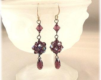 Woven Amethyst Crystal Ball Dangle Earrings, Purple Earrings, Bridesmaid Earrings, Amethyst a.b.