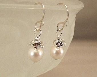 Small Wedding Earrings, White Wedding Earrings, Pearl and Rhinestone Earrings, Small Pearl Earrings, Pearl Earrings, White Weddings