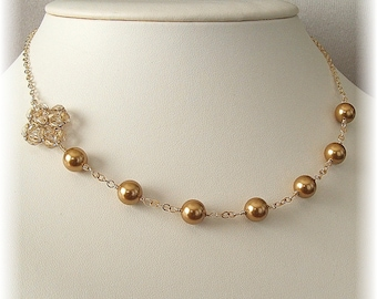 Bronze Wedding Asymmetrical Necklaces, Pearl and Crystal 14k Gold Filled Necklaces, Bright Gold Swarovski Pearls and Crystal