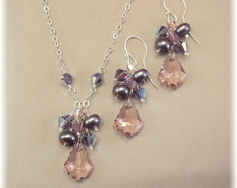 Purple Blend Bridesmaid Necklace and Earring Set, Purple Earrings, Purple Necklaces, Lavender Jewelry,  Necklace and Earring Sets
