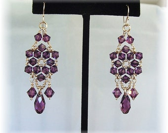 Amethyst Crystal Chandelier Earrings, Purple Chandelier Earrings, Custom Bridal Party Earrings, Formal Earrings, Long Earrings