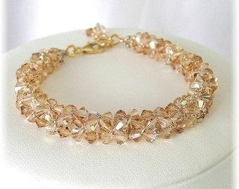 Golden Crystal Bridal Bracelet, Golden Bridal Bracelets, Swarovski Golden Blend, Champagne Bracelets, Woven Bracelets