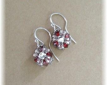 Siam Red, Small Textured Drop Earrings, Beadwork Earrings, Red Bridesmaid Earrings, Beaded Earrings, Wedding Earrings