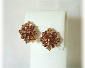 Vintage Styled, Retro, Crystal Copper Clip On Earrings, Copper Earrings, Burnt Orange Earrings, Swarovski Crystal Non-Pierced Earrings