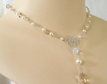 Bridal Necklace with Jeweled Back Drop, Silver Metal,  Cream Pearls and Golden Blend Swarovski Crystal, Jeweled Back Drop Necklace