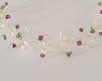 Bridal Hair Vine Tiara,  Head Piece, Wedding Hair, Deep Fushsia Winterberry Blend