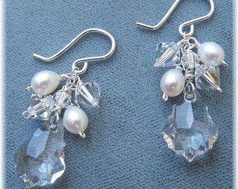 Freshwater Pearl and Swarovski Crystal Cluster Earrings, White Beaded Wedding Earrings, White Wedding