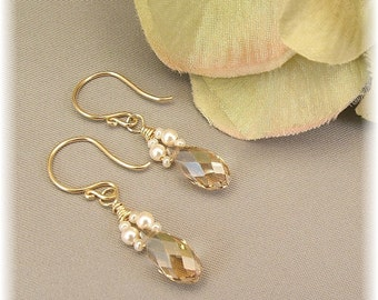 Petite Ivory Pearl and Teardrop Crystal Wedding Gown Earrings, Available in 14K gold filled or sterling silver metal