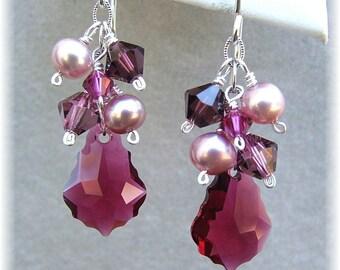 Wine Fuchsia Blend, Fuchsia Weddings, Bridesmaid Earrings, Fuchsia Blended Cascade Earrings