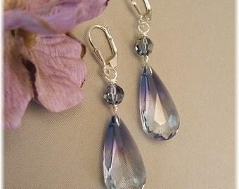 Oceanblue Swarovski Crystal Pendant Earrings, Blue Earrings, Long Crystal Earrings, Navy Weddings