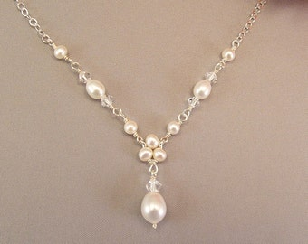 Pearl Wedding Necklaces, Freshwater Pearl Jewelry, Trinity Pearl Teardrop Necklace, Choice of White or Ivory Pearls