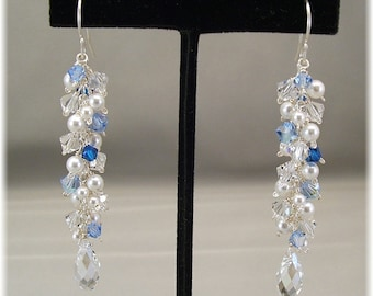 Something Blue Earrings Fringe Earrings, Cascade Earrings, Sterling Silver, White Pearls, and Blue Crystal Mixture