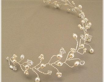 Ivory Wedding Gown Tiara, Wedding Hair Accessories, Hair Vine, Cream Pearl and Crystal Hair Vine