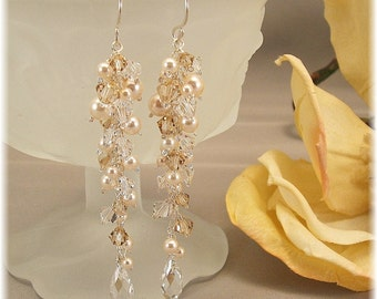 Golden Blend Wedding Day Earrings - Sterling Silver, Cream Swarovski Pearls and Golden Blend Swarovski Crystal