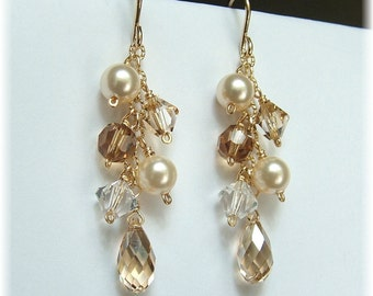 Golden Blend Earrings , Ivory Wedding Gown Jewelry, Choice of 14k gold filled or sterling silver
