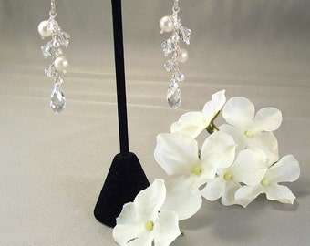 Wedding Cascade Earrings, Freshwater Pearls and Clear Swarovski Crystal, Available with Sterling Silver or 14k gold filled