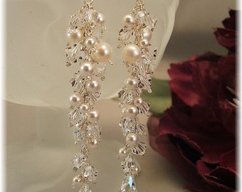 Wedding Day Earrings, Icicle Pearl Earrings, Long Cascade Earrings, White Pearls and Clear Crystal