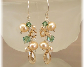 Bridesmaid Cascade Earrings, Champagne Pearls and Swarovski Austrian Crystal, Available in 14K Gold Filled or Sterling
