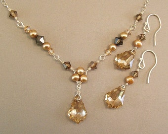 Bridesmaid Necklace and Earring Set, Brown Jewelry, Brown Necklace, Brown Earrings, Crystal and Freshwater Pearls