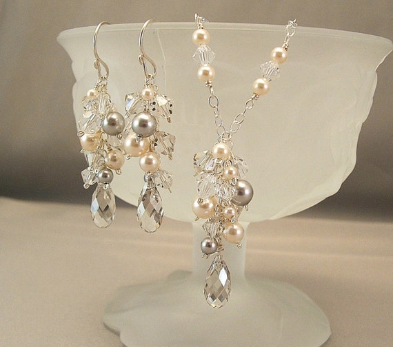 Silver Creme Collection, Bridal Necklace and Earring Sets, Ivory Pearls with Silver