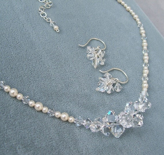 Necklace and Earring Set, Jewelry Sets, Crystal and Pearl Cluster Necklace and Earring Set,  Ivory or White Pearls are available