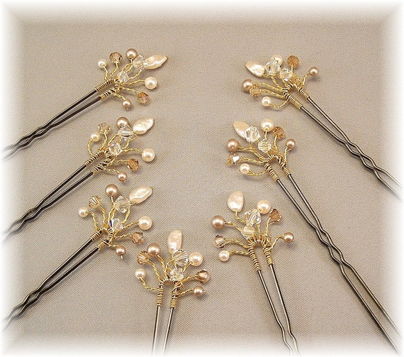 Bridal Hair Accessories,  Bridal Hair Pins, Golden Honey Blend Crystal and Pearls, Set of Seven Hair Pins with Gold Plated Wiring