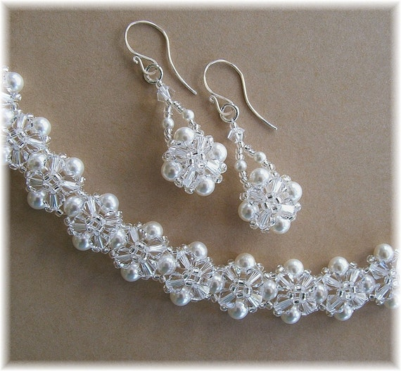 Crystal Crowns Clear Crystal and White Pearls Bridal Bracelet and Earring Set, White Wedding Bracelet and Earrings