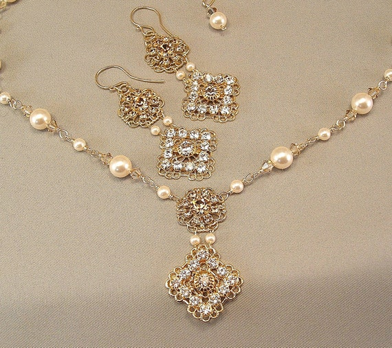 Gold Wedding Day Rhinestone Filigree Necklace and Earring Set, Rhinestone Wedding Ivory Cream Pearl Jewelry, Silver or Gold Metal Available