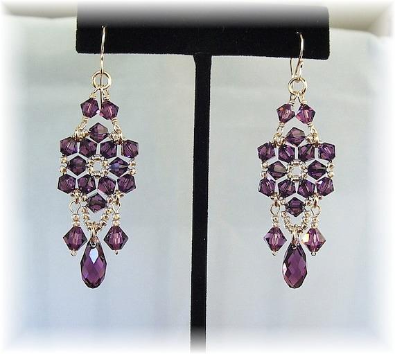 Amethyst Crystal Chandelier Earrings, Purple Chandelier Earrings, Custom Bridal Party Earrings, Formal Earrings, Long Earrings