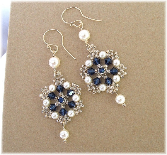 Dark Sapphire Crystal with Light Bronze Beading, Filigree Wedding Earrings, Navy Earrings, Cream Pearls,  Wedding Earrings, Bridal Earrings