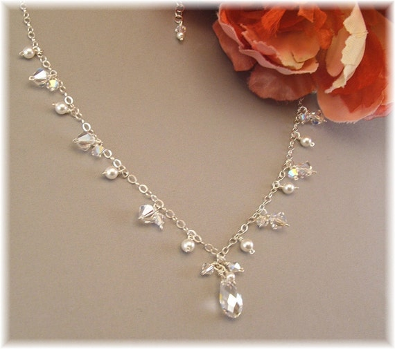 Dainty Cascade Bridal Necklace - Sterling Silver, White Pearls and Swarovski Austrian Crystal