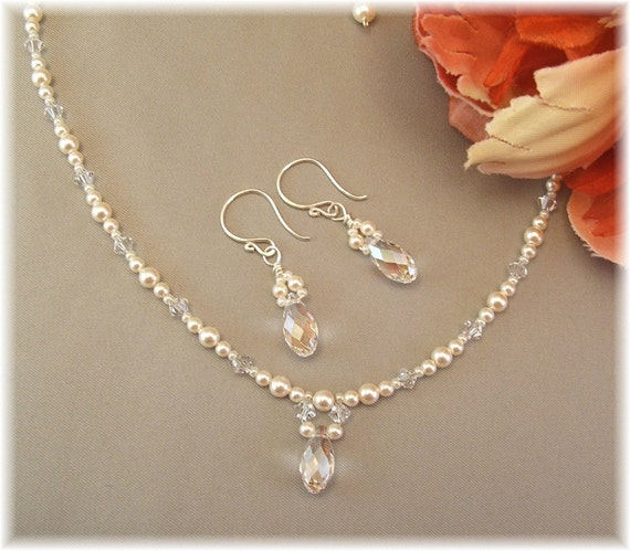 Bridal Necklace & Earring Set, Delicate Necklaces, Teardrop Earrings, Pearl and Crystal Jewelry Sets