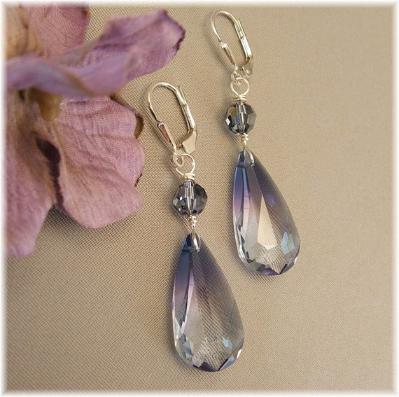 Oceanblue Swarovski Crystal Pendant Earrings, Blue Earrings, Long Crystal Earrings, Navy Weddings