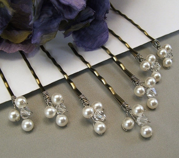 Wedding Hair Accessories - White Pearls and Clear Crystal Bobby Pins, Choice of White or Ivory Pearls Available