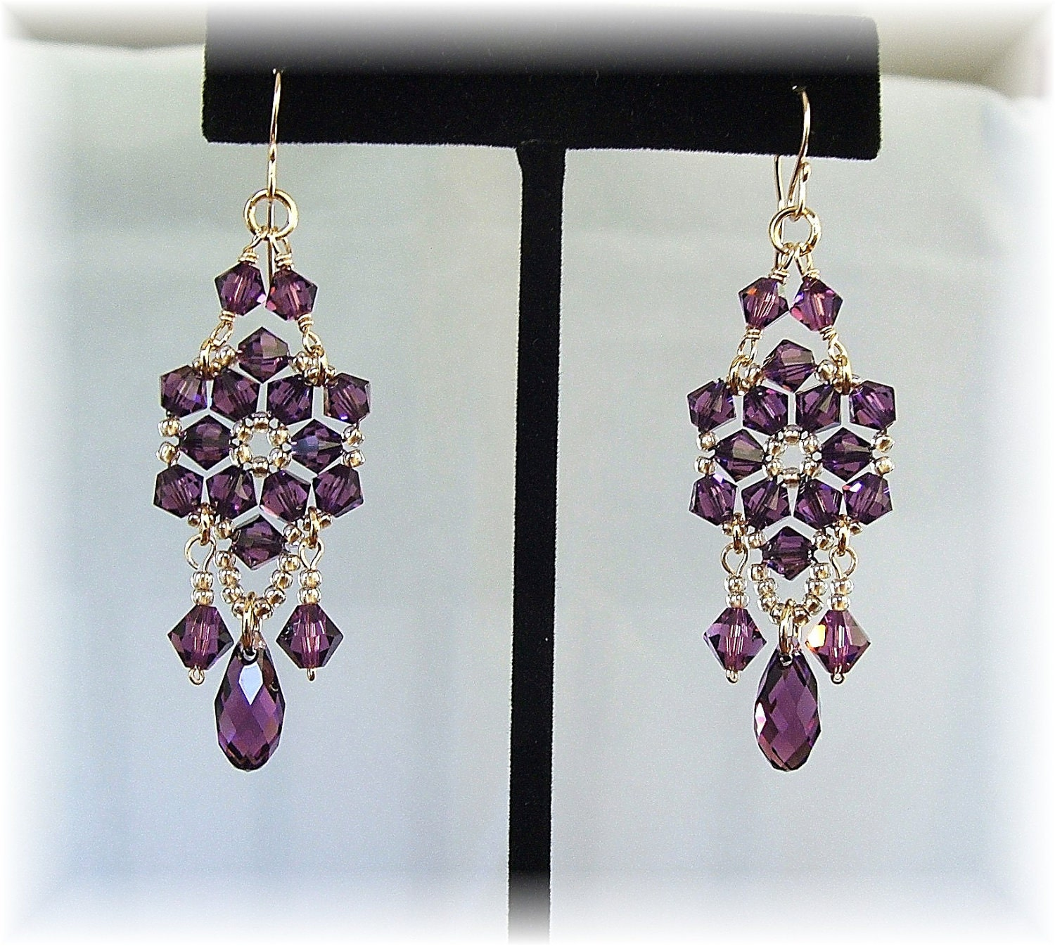 Amethyst Crystal Chandelier Earrings Purple Chandelier