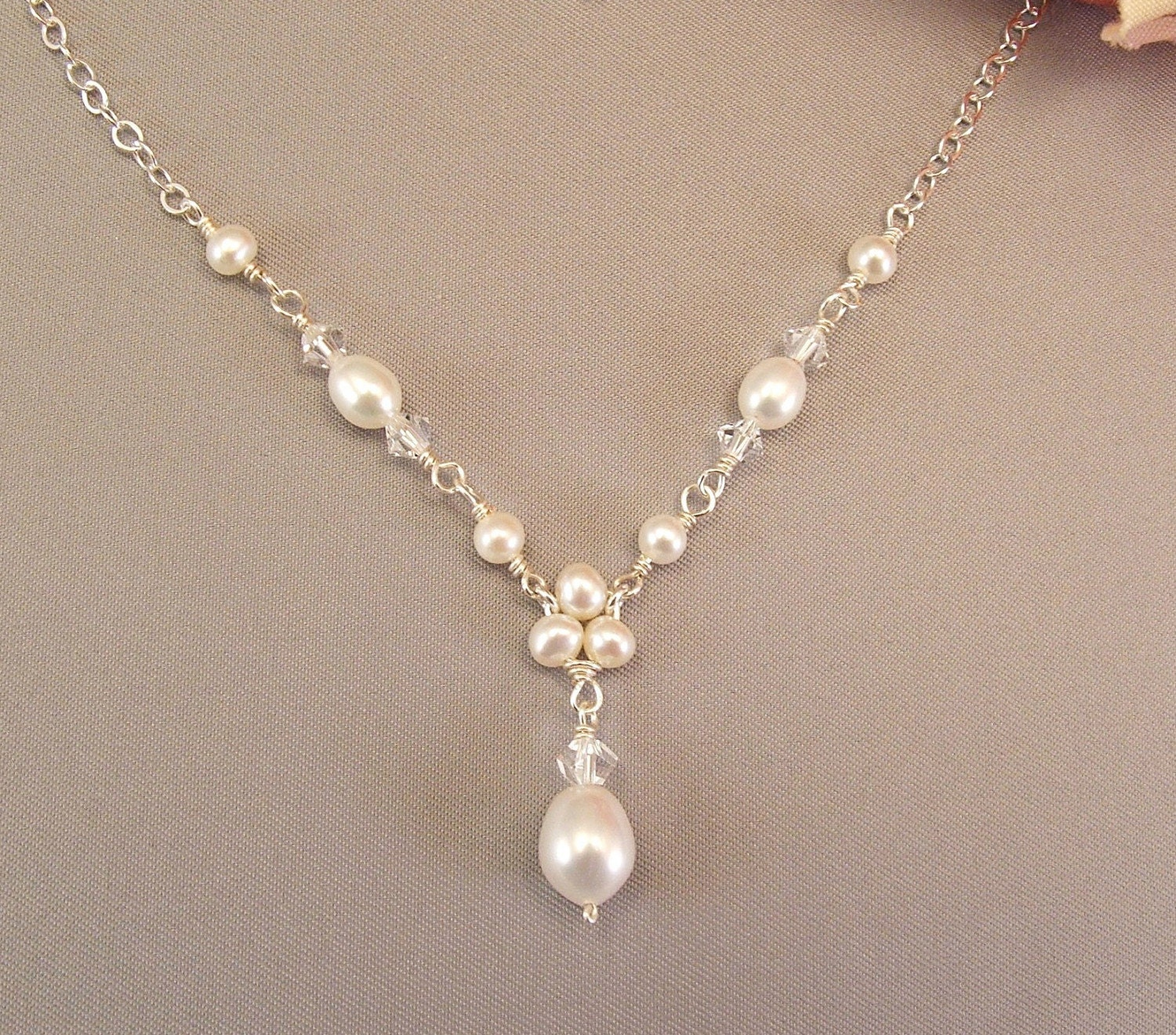 pearl wedding necklaces freshwater pearl jewelry trinity