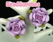 FP-FI-01037 - Flower fimo, big rose,Purple, 4 pcs