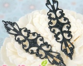 Clearance - FN-RB-09011 - Nickel free,  Black Art Nouveau Filigree for ring base, 12 pcs