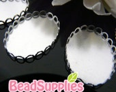 CH-CS-09003-  Nickel free and lead free,Lace edged cameo setting , Oval, 6 pcs (for 25mmx18mm cabochon)