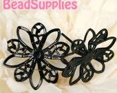 Clearance - FN-ER-09004 -Nickel Free, Black enameled Stud earpost with 10 petal filigree lotus flower pad, (with ear nuts), 6 pairs