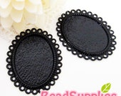 CH-CS-01002, Nickel Free, lead free, Lace pattern cameo setting , Oval, Black, 6 pcs (for 25mmx18mm cabochon)