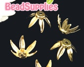 FG-FG-02020 - Nickel Free, Gold plated, 6 petal long floral beadcaps, 12 pcs