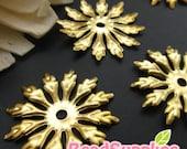 FG-FG-08074- Nickel Free, Raw Brass, Snowflake filigree, 8 pcs