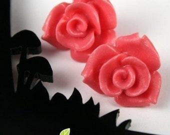 CA-CA-10103- (New and Unique) 3D Rose, Coral Red, 2 pcs