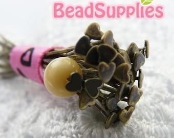 FN-HP-03005 - Heart headpin, Antique Brass, 144pcs