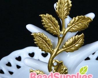 CH-ME-08001 - Nickel Free, Raw Brass Big Leaf, 2 pcs