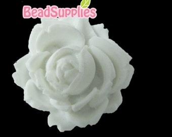 CA-CA-00302 - White Flat Rose Cabochon, 2 pcs