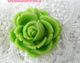 CA-CA-00307 - Apple Green Flat Rose Cabochon, 2 pcs