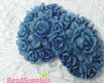 CA-CA-00804 - Oval Rose Cabochon, Tie-Dyed Blue,2 pcs